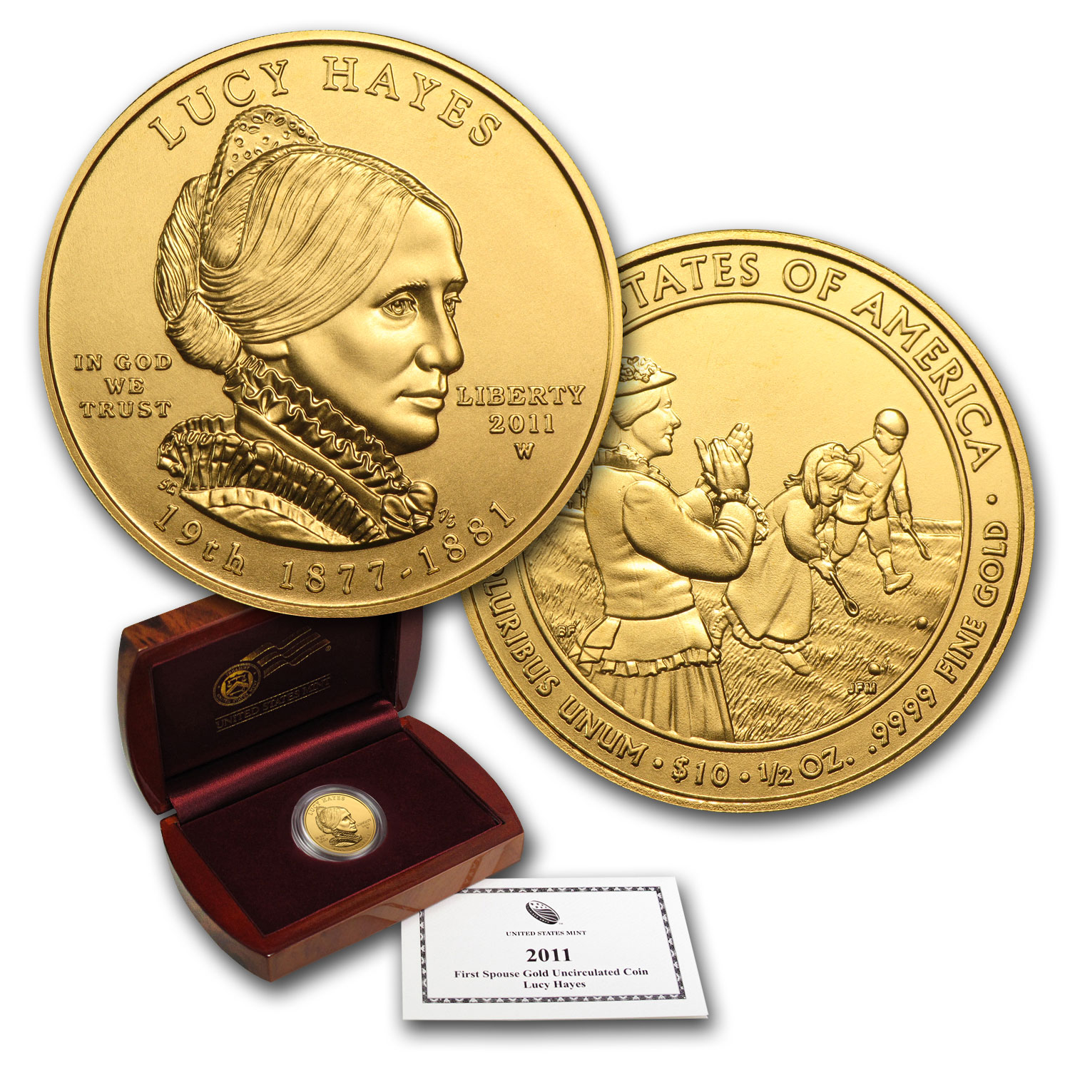 2011-W 1/2 oz Uncirculated Gold Lucy Hayes (w/Box & COA)